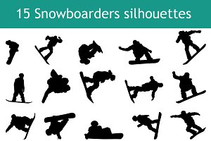 15 Snowboarder silhouettes