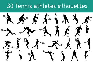 Tennis athletes silhouettes