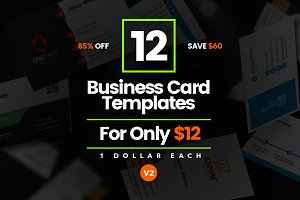 12 Modern Business Cards - Bundle v2