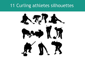 11 Curling athletes silhouettes