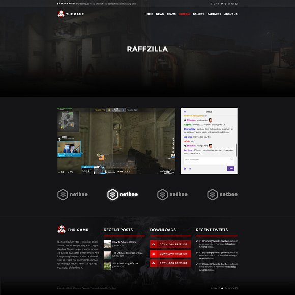 the game esport psd gaming templat website templates creative