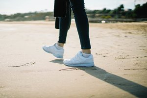 young woman wearing sneakers