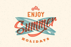 Summer Holidays Retro Vector Design