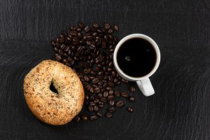 Coffee and bagel for breakfast