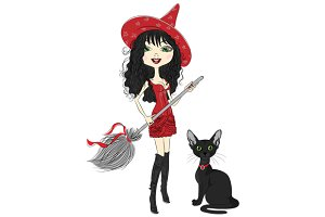 Girl witch with black cat