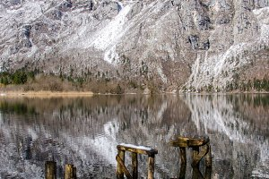 Wooden sculptures in a lake