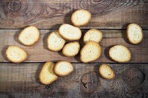 crackers on a dark wooden background