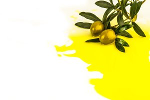 Olive oil and olives isolated