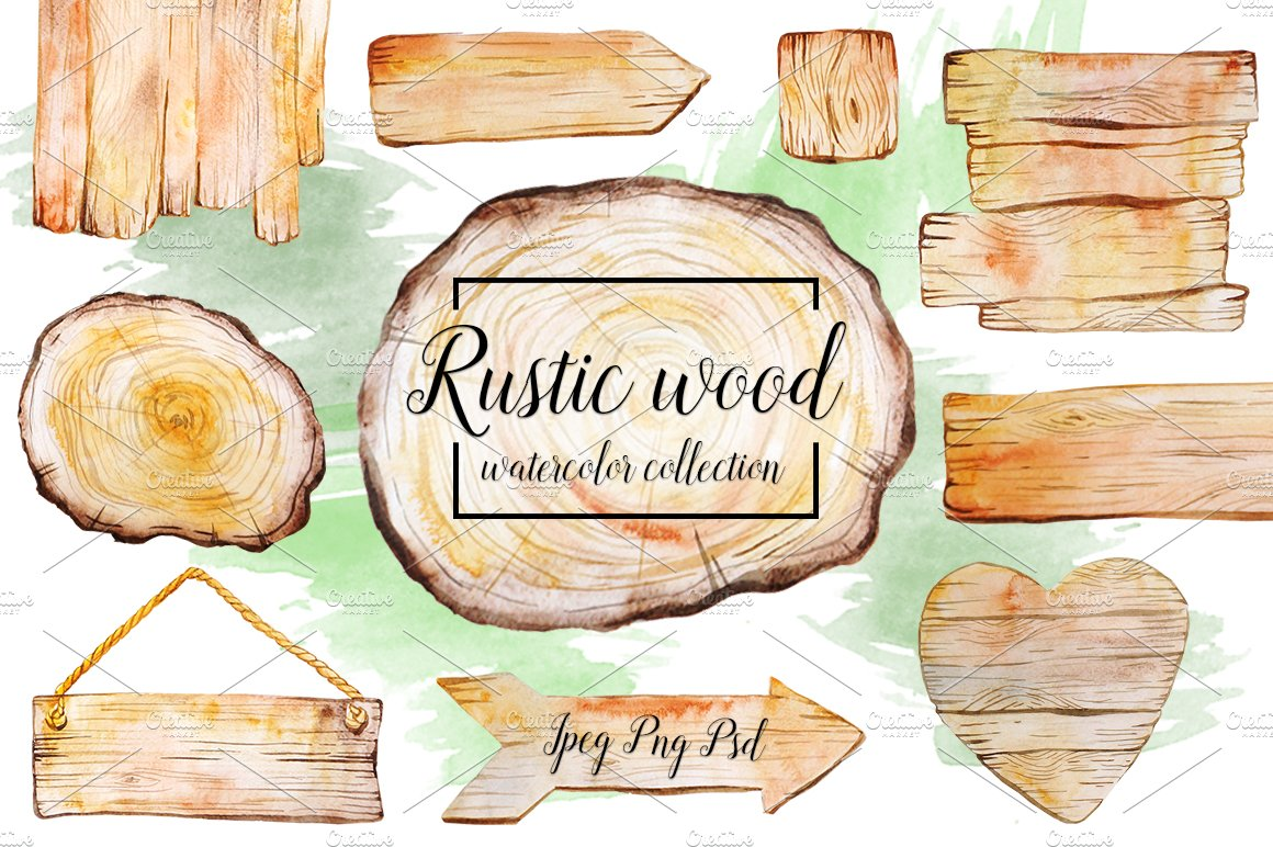 Rustic Watercolor Wood Collection Graphic Objects Creative Market
