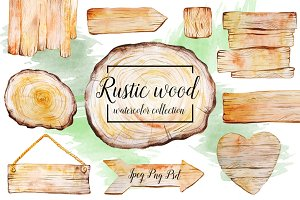 Rustic watercolor wood collection
