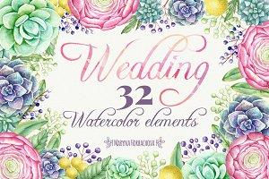 Wedding watercolor cliparts
