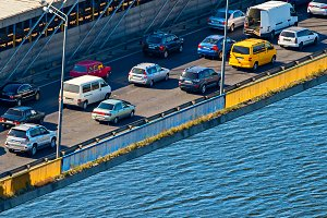 Traffic jam on a bridge