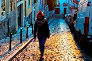 Girl walking at Lisboa street