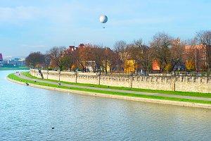 Vistula quayside in Krakow, Poland