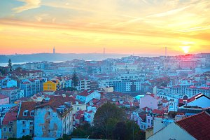 Beautiful Lisbon at sunset, Portugal