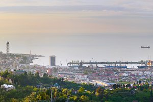 Batumi sea port panorama, Georgia