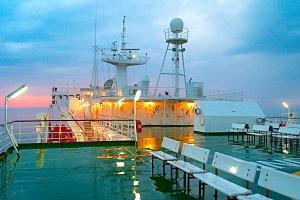 Ship deck in the rain