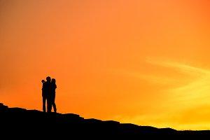 Couple selfie, silhouette