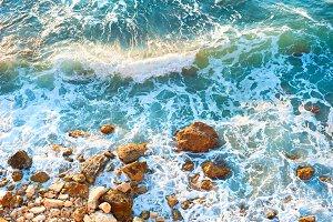 Sea rock beach, background