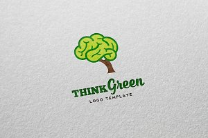Think Green Vector Logo Template