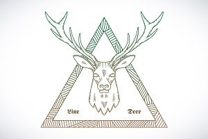 Line Style Abstract Vector Deer Face