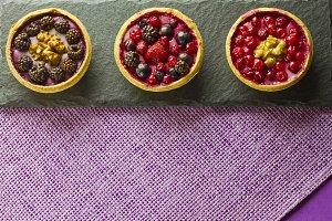 Three autumn fruits cakes