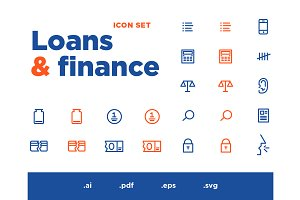 Loans & finance vector Icons set