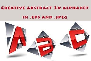 Creative abstract 3d alphabet