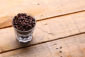 Coffee grains in a glass