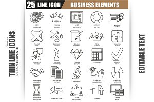 Thin Line Business Elements Icons