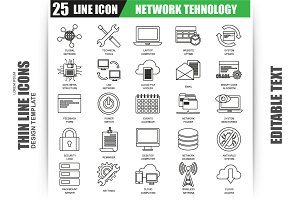 Thin Line Network Tehnology Icons