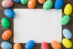 Easter greeting card and Easter eggs