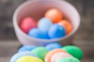 Easter eggs in a vintage bowl
