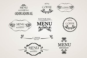 Label set for restaurant menu,cafes