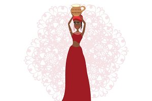 Woman with a jug vector illustration