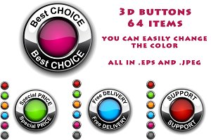 3d color buttons, 64 items