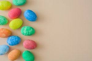 Easter eggs on a beige background