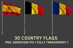 3D Country Flags
