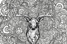 Horned deer with colored ornament.