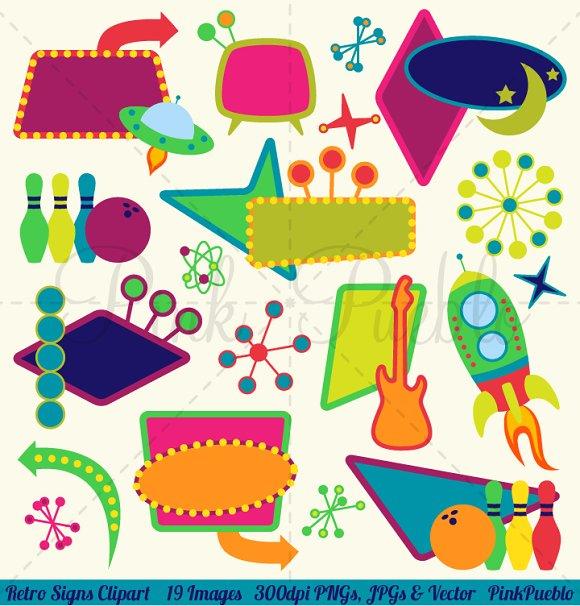 Retro Signs Clipart And Vectors Illustrations Creative