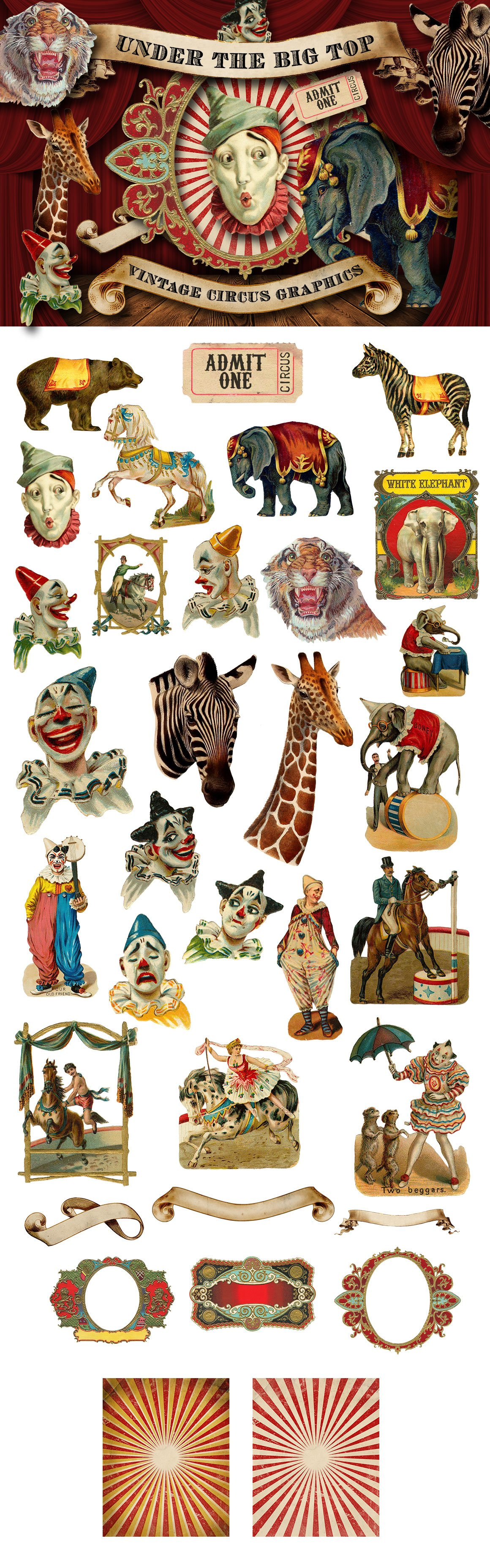 Vintage Circus Graphics ~ Graphic Objects ~ Creative Market