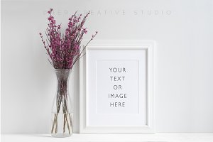 White Picture Frame Floral Mockup