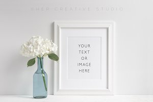 Floral Mockup White Picture Frame
