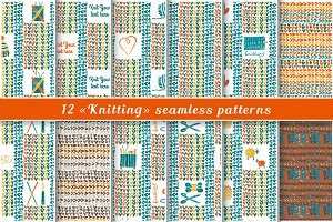Knitting patterns in Lino cut style
