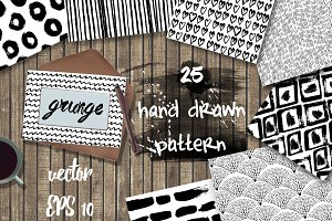 25 grunge hand drawn patterns