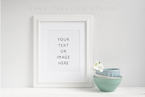 Product Mockup White Picture Frame