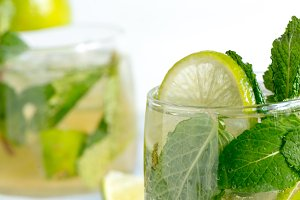 Mojito cocktail wiyh rum lime and so