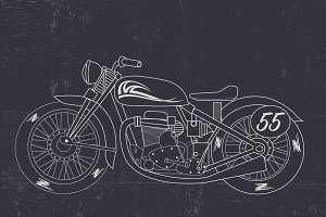 Retro motorcycle, motorbike