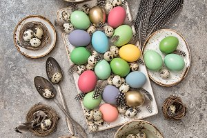 Easter decoration with colorful eggs