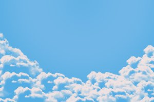 Sky and white clouds on blue background